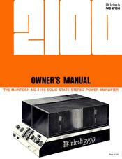 Mcintosh MC 2100 Manuals