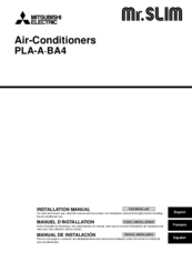 Mitsubishi Electric Mr. Slim PLA-A24BA4 Installation Manual