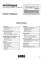 Korg minilogue Owner's Manual