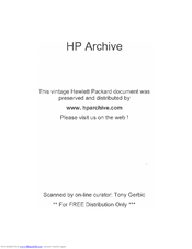 HP 460BR Operating And Servicing Manual