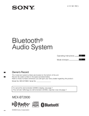 Sony MEX-BT2800 - Bluetooth Audio System Operating Instructions Manual