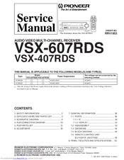 Pioneer vsx 607rds manuals fandeluxe Choice Image