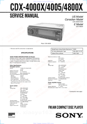 Sony CDX-4005 - Fm/am Compact Disc Player Service Manual