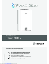 Bosch Therm 6000 S Installation And Operating Instructions Manual