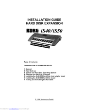 Korg iS50 Installation Manual