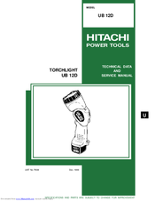 Hitachi UB 12D Technical Data And Service Manual