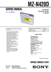 Sony Walkman MZ-N420D Manuals
