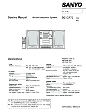 Sanyo DC-DA70 Service Manual