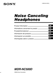 Sony DIGITAL NOISE CANCELING HEADPHONES MDR-NC500D Product Information