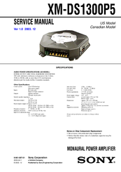 Sony XM-DS1300P5 Operating & Mounting Service Manual