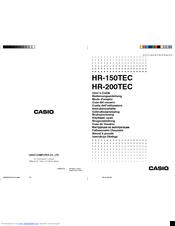 Casio Hr 150tec Manuals