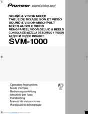Pioneer SVM 1000 - Audio/Video Mixer Operating Instructions Manual