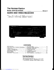 HARMAN KARDON AVR200 TECHNICAL MANUAL Pdf Download. on