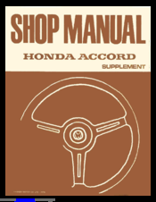 Honda 1980 Accord Supplemental Shop Manual