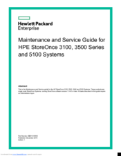 HP HPE STOREONCE 3100 SERIES MAINTENANCE AND SERVICE MANUAL Pdf