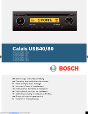 Bosch Calais USB80 Operating And Installation Instructions
