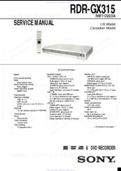 sony rdr gx315 manuals rh manualslib com JVC KD AVX77 Manual Frigidaire Electrolux Refrigerator Manual