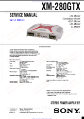 sony xm 280gtx marketing specifications manuals rh manualslib com sony xm-2002gtr service manual JVC KD AVX77 Manual
