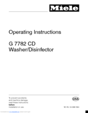 Miele G 7782 CD Operating Instructions Manual