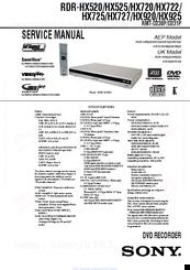 sony rdr hx520 service manual pdf download rh manualslib com DPX300U Manual Sony Handycam Manual