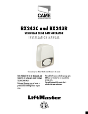 CAME BX243C INSTALLATION MANUAL Pdf Download