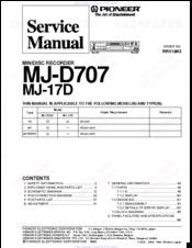 pioneer mj d707 manuals