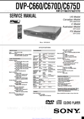 Sony DVP-C670D - Cd/dvd Player Service Ma