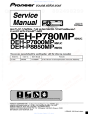 Pioneer DEH-P7800MP Service Manual