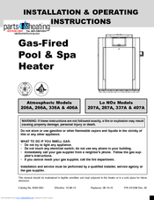 raypak 406a installation & operating instructions manual (60 pages)   gas-fired pool & spa heater