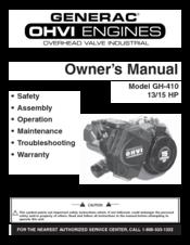 Generac Power Systems GH-410 Manuals