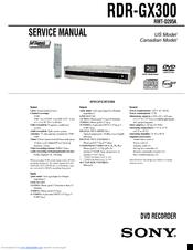 sony rdr gx300 manuals rh manualslib com sony dvd recorder rdr gx300 instruction manual sony dvd recorder rdr-gx300 user manual