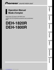 Pioneer DEH-1820R Operation Manual