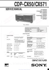 Sony CDP-CX571 Service Manual