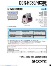 sony dcr hc30 service manual pdf download rh manualslib com Sony Handycam PDF Manuals Sony DCR- SR200