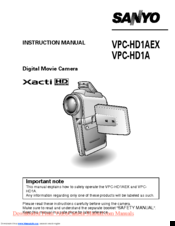sanyo vpc hd1a manuals rh manualslib com Sanyo HD Xacti Camera Sanyo Xacti Dual Camera Manual