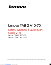 lenovo tab 2 a10 70f safety warranty quick start manual