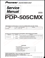 Pioneer PDP505CMX - HD Plasma Display Service Manual