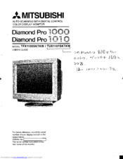 Manuals And User Guides For Mitsubishi Diamond Pro 1000 TFX1105SKTKW We Have 1 Manual Available Free PDF