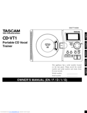 Tascam CD-VT1 Owner's Manual