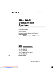 Sony MHC-GN900 Operating Instructions Manual