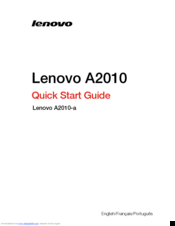 Lenovo IdeaTab A1000 Quick Start Manual
