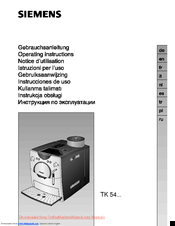 Siemens TK 54 SERIES Operating Instructions Manual