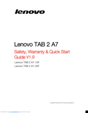 lenovo tab 2 a7 20f manuals rh manualslib com lenovo tablet user guide pdf Lenovo ThinkPad T420 User Guide