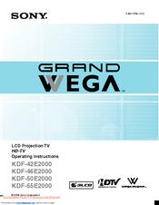 sony grand wega kdf 55e2000 manuals rh manualslib com Sony KDF-55E2000 Troubleshooting Sony KDF-55E2000 Aduio Ext