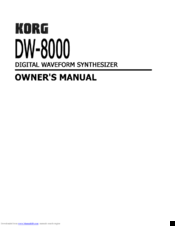 Korg DW-8000 Owner's Manual