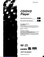 Sony DVP-NCBOOH Operating Instructions Manual