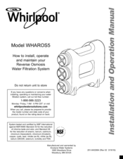 whirlpool wharos5 installation and operation manual pdf download rh manualslib com Whirlpool Reverse Osmosis Troubleshooting Whirlpool WHER25 Reverse Osmosis Filtration System