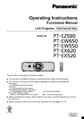 Panasonic PT-EZ590 Operating Instructions Manual