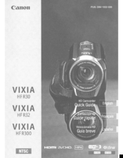 Canon VIXIA HF R30 Quick Manual