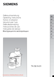 Siemens TK 50 N 01 Operating Instructions Manual
